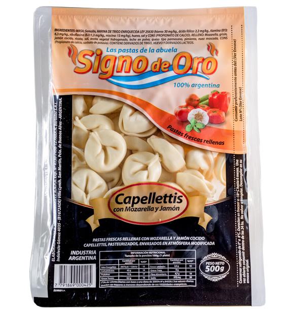 Capelettis con mozarella y jamón